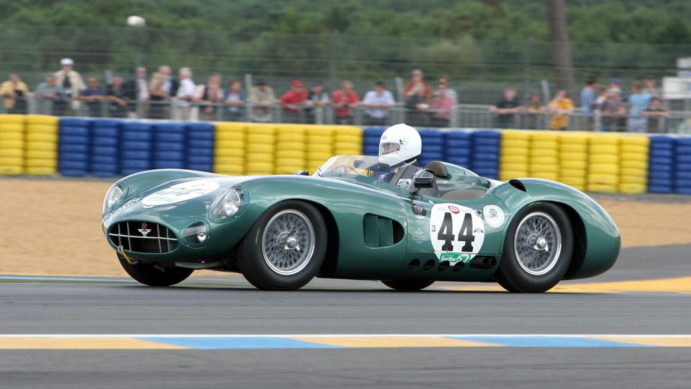 A 1959 Aston Martin DBR1 participates in the 2008 Le Mans Classic.