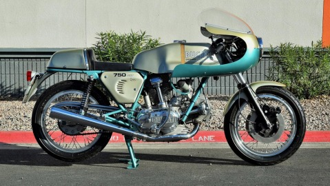 A 1974 Ducati 750SS 'Green Frame' motorcycle.