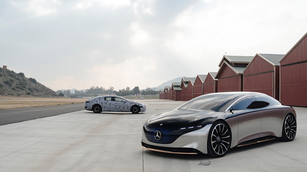 The Mercedes-Benz Vision EQS concept and the camouflaged production version