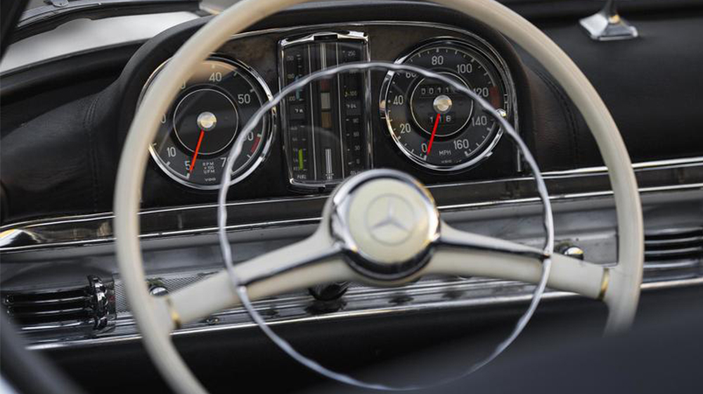 The interior of a 1957 Mercedes 300SL Roadster.