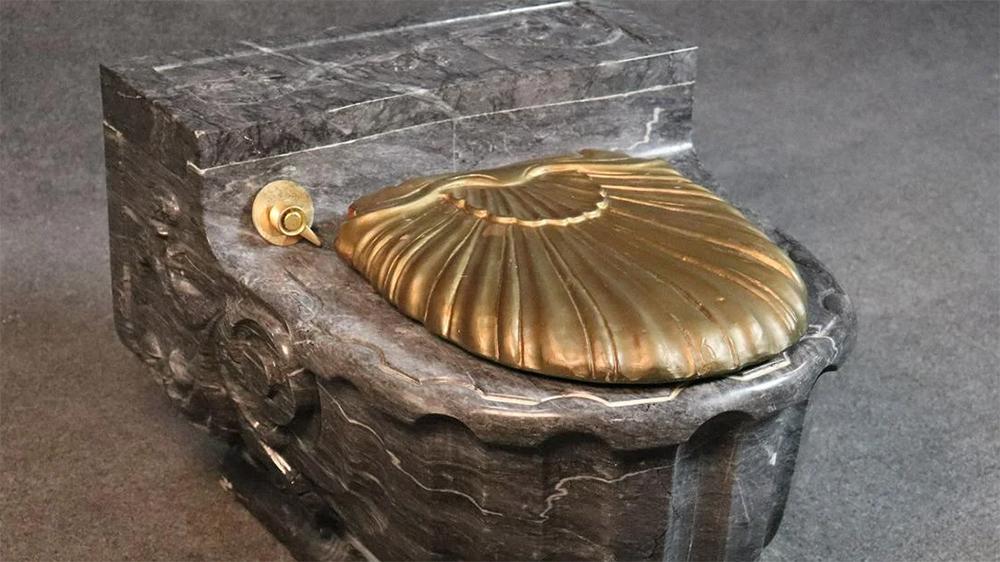 Frank Sinatra's gold-topped, Italian marble toilet