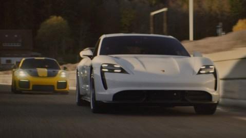 "The Porsche Taycan Turbo S in ""The Heist."""