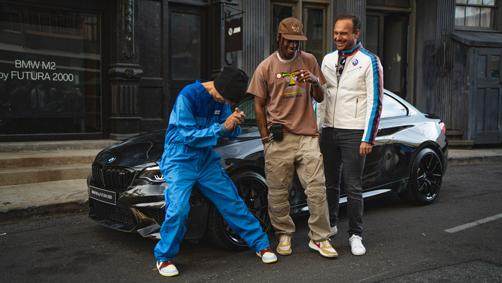 From left: Artist Futura 2000, rapper Travis Scott and the CEO of BMW M, Markus Flasch, at the unveiling of the BMW M2 Edition designed by Futura 2000.