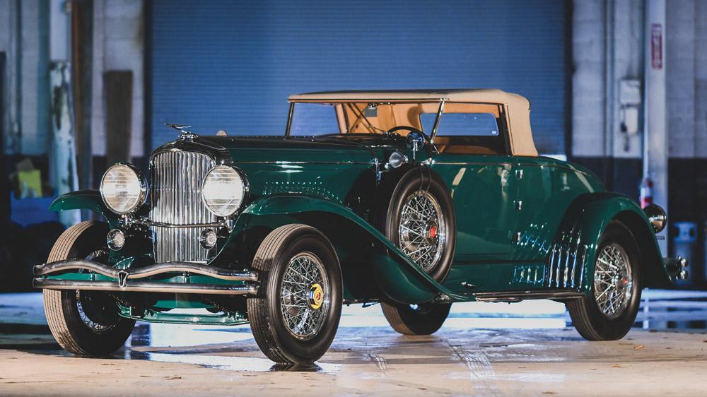 A 1932 Duesenberg Model J Convertible Coupe.