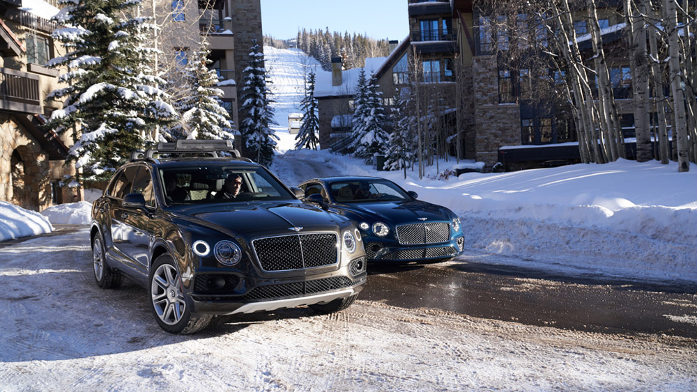 Cruising through Telluride in the tony Bentley Bentayga and Continental GT.