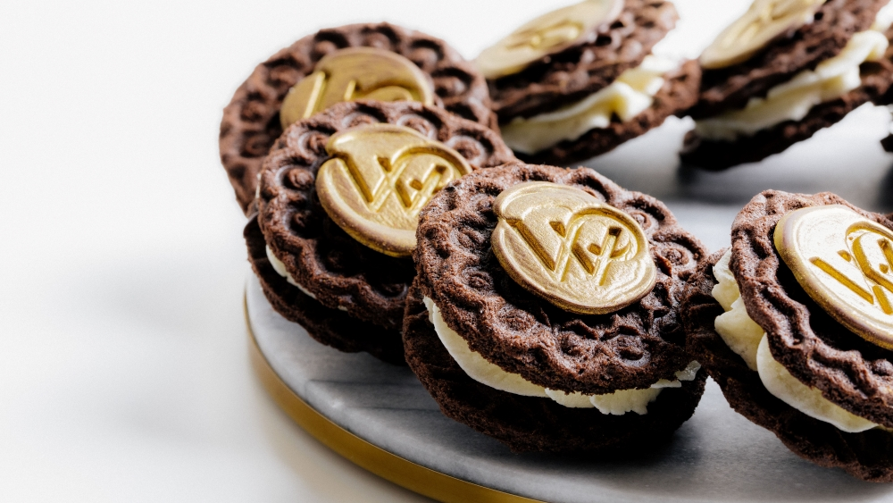 Chocolate Pizzelle Wafer with Vanilla Cream and WP Chocolate Stamp