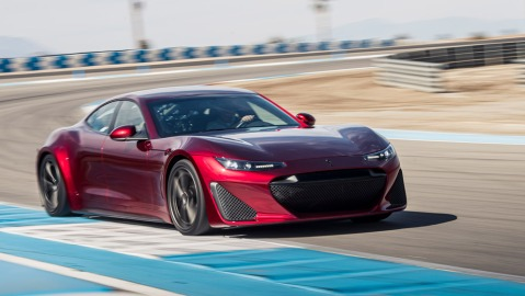 The all-electric, 1,200 hp Drako GTE on track.