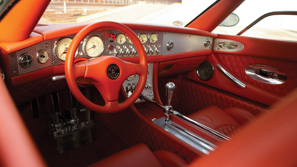 The interior of a 2008 Spyker C8 Laviolette.