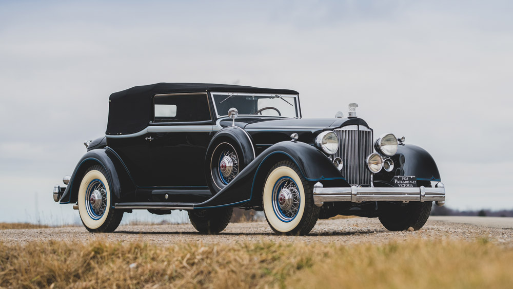 A 1934 Packard Twelve Convertible.