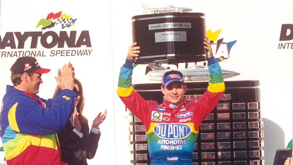 Jeff Gordon celebrates win at Daytona in 1999.