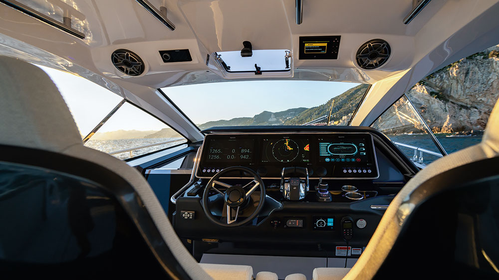 The Verve 47's helm area features two consoles for digital control of the boat.