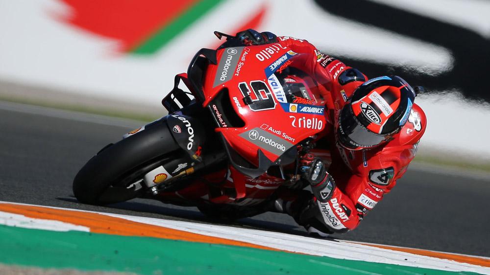 Ducati's Danilo Petrucci competing in MotoGP's Gran Premio Motul de la Comunitat Valenciana.