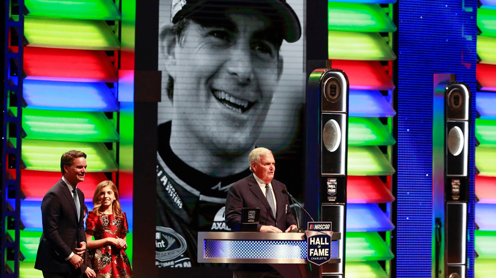 Jeff Gordon being inducted into the NASCAR Hall of Fame.