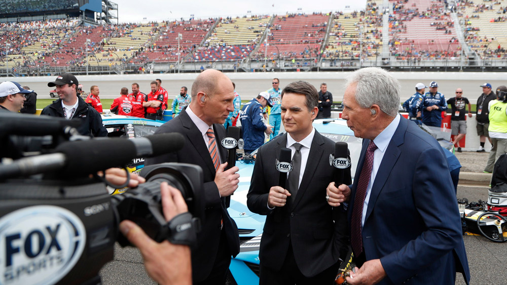 NASCAR's Hall-of-Fame racer Jeff Gordon as part of Fox NASCAR broadcast team.