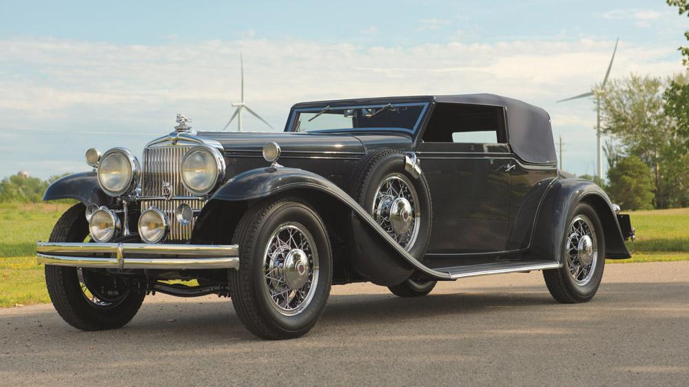A 1931 Stutz DV32 Convertible Victoria.
