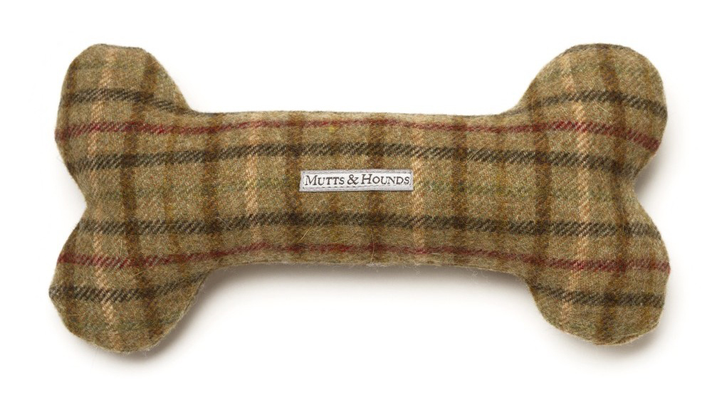 Mutts & Hounds Balmoral Tweed Bone Dog Toy
