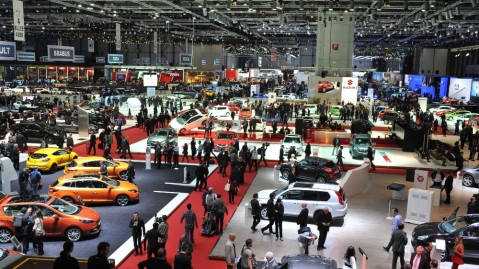 The floor of the Geneva International Auto Show in 2012
