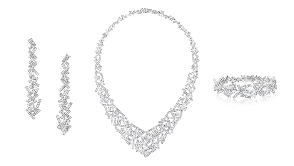 Graff Diamond Earrings, Necklace and Bracelet from Threads Collection
