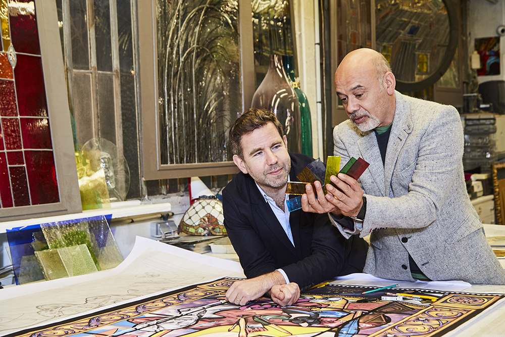 Curator Oliver Gabet with Christian Louboutin.