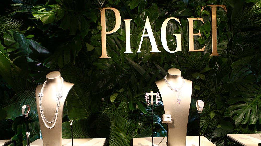 The Piaget logo and some of the brand's jewelry