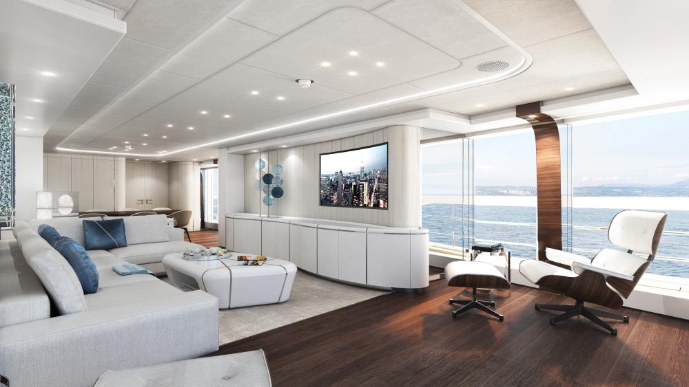 Heesen Project Electra Hybrid Superyacht main saloon
