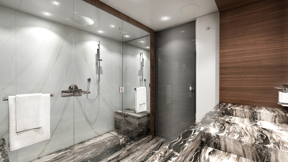 Heesen Project Electra Hybrid Superyacht owner's bathroom