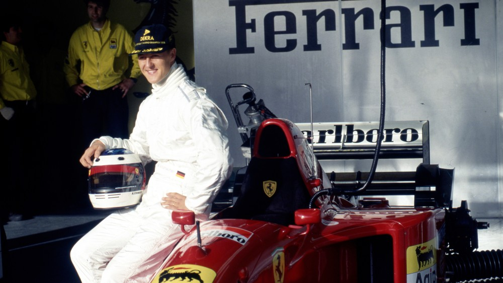Michael Schumacher and the 1995 Ferrari 412 T2 in Estoril