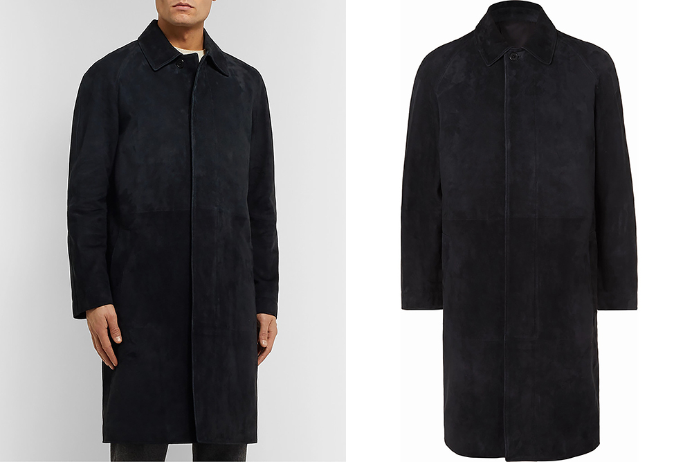 The Row's Parker coat, cut from a black lamb suede, features a raglan sleeve.