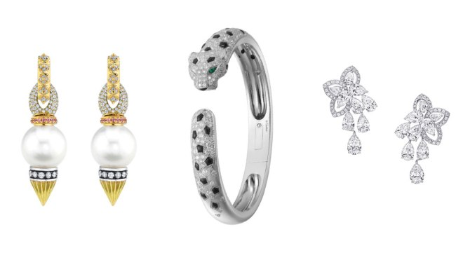 Rosa Van Parys Earrings, Cartier Panthère Bracelet, Graff Earrings
