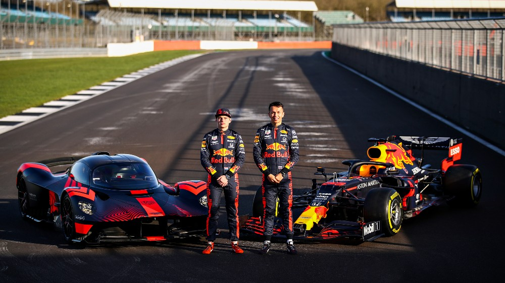 Aston Martin Red Bull Formula 1 team drivers Max Verstappen and Alex Albon