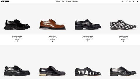 A page on Amazon-owned VRSNL offering designer shoes by Rick Owens and others.