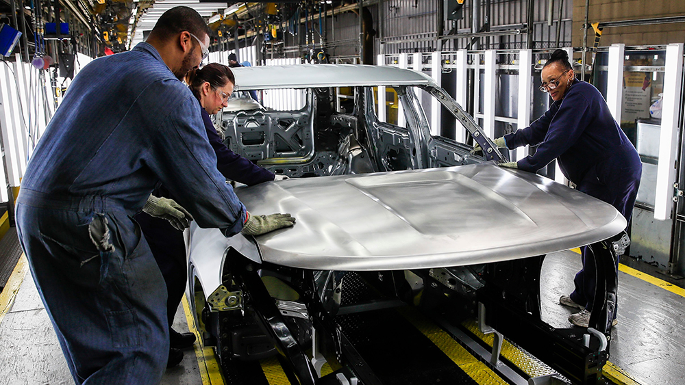 Ford employees work on the assembly line checking for blemishes on vehicle chassis in Ford Motor Company's Chicago Assembly Plant in Chicago, Illinois, USA, 24 June 2019. The facility has undergone a 1 billion USD transformation to produce Ford Explorer, Police Interceptor Utility and Lincoln Aviator vehicles.Ford Chicago Assembly Plant, USA - 24 Jun 2019
