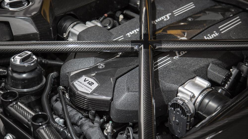 The engine of a Lamborghini Aventador S.