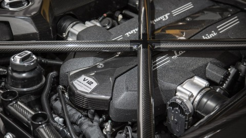 The engine of a Lamborghini Aventador S.