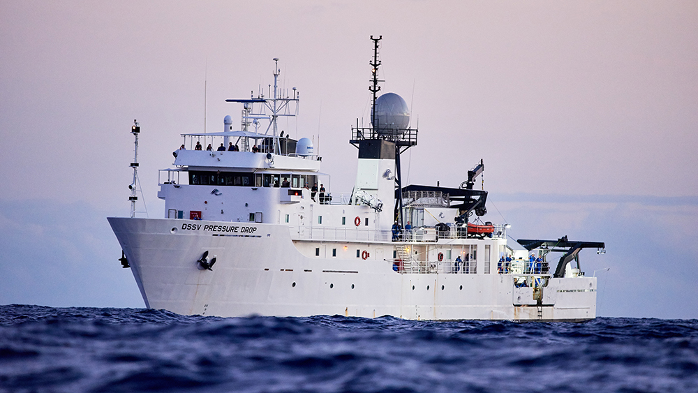 The research vessel, DSSV Pressure Drop, hosts a scientific expedition that will allow three fortunate civilians to do the deep dive.