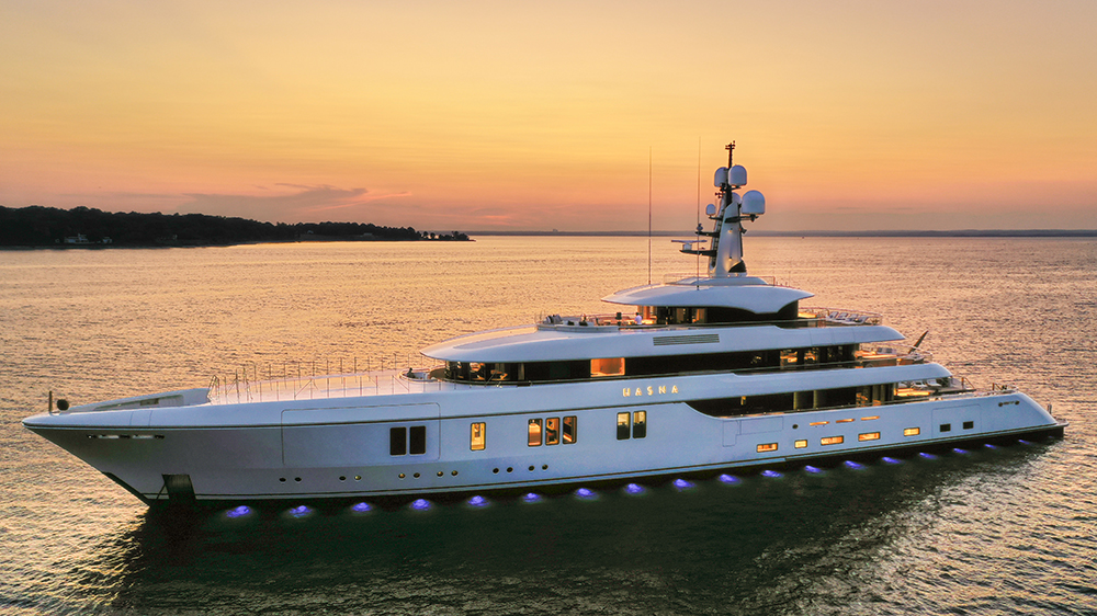 The 240-foot Hasna was one of the yachts that was part of the inaugural Superyacht Experience Palm Beach.