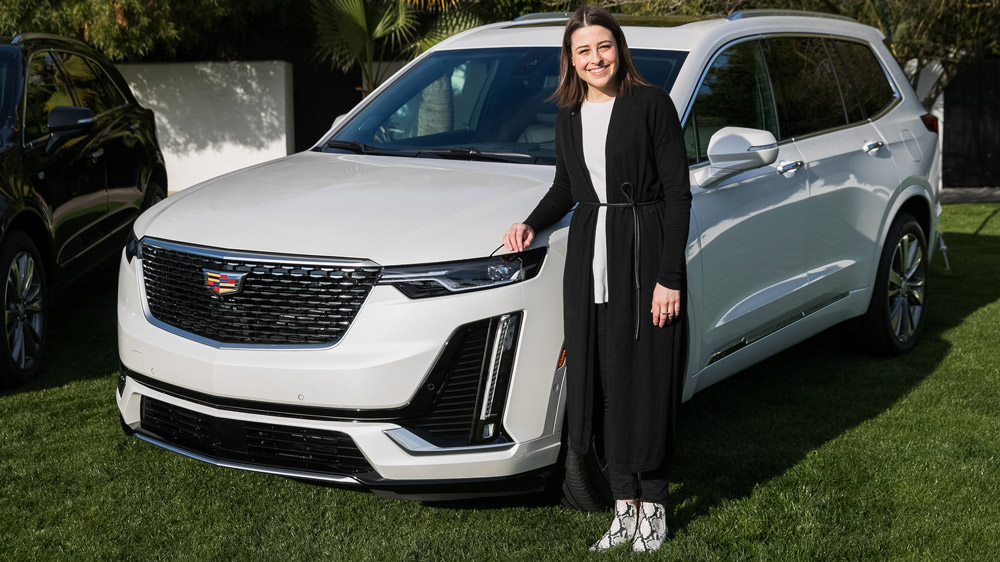 Mara Kapsis, Cadillac's creative designer for color and trim, with the 2020 Cadillac XT6.