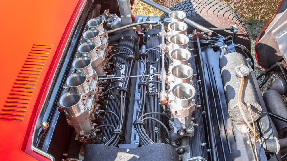 The 12-piston configuration in a 1967 Lamborghini Miura.