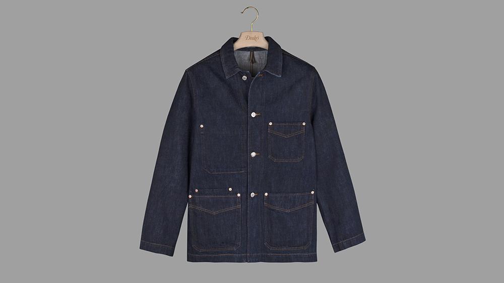 Drake's denim chore coat