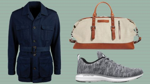 A safari jacket from Stenströms, a Brunello Cucinelli duffle bag, and APL sneakers.