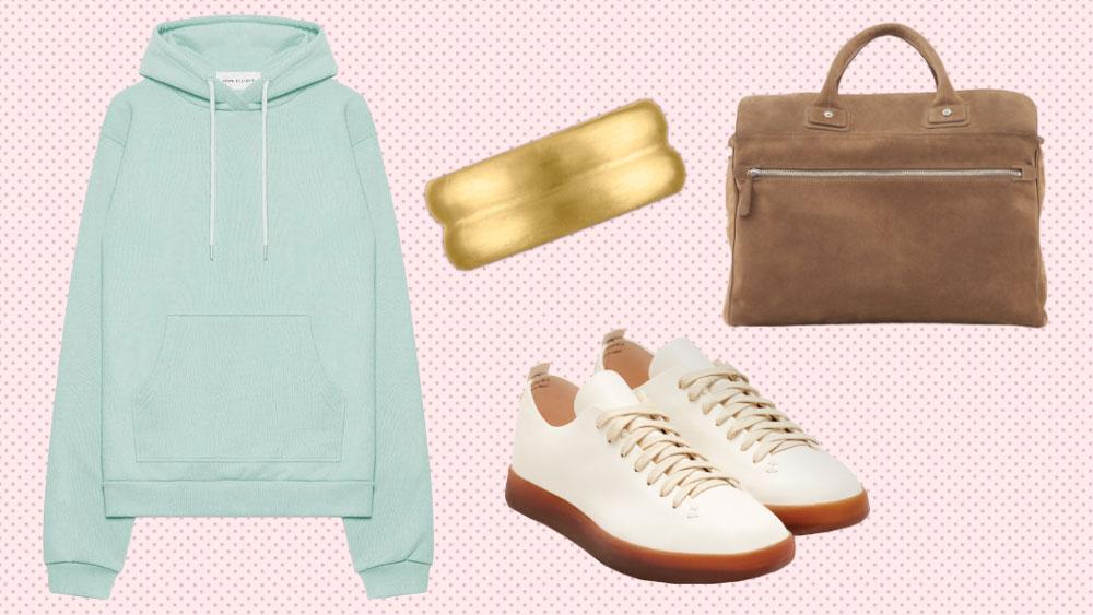 John Elliott hoodie, Prunes ring, Connolly bag, Feat sneakers
