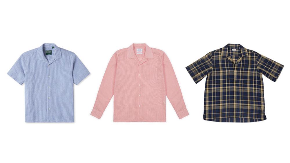 Camp collar shirts from Gitman Vintage, Timothy Everest, and Camoshita.