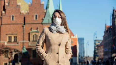 Woman in a medical mask.