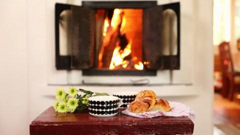 Finland cinnamon buns fireplace cozy