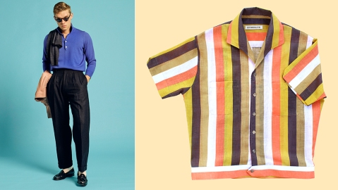 Scott Fraser Collection's wide leg trousers and Lido shirt.