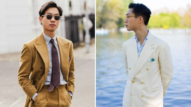 The Anthology co-founder Buzz Tang sporting suits from the tailoring upstart.