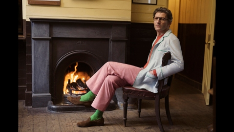 Lounging by the fire in Turnbull & Asser's pajama set.