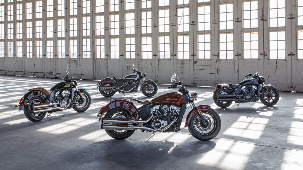 Clockwise from front: Indian's 100th Anniversary Scout, Scout, Scout Sixty and Scout Bobber.