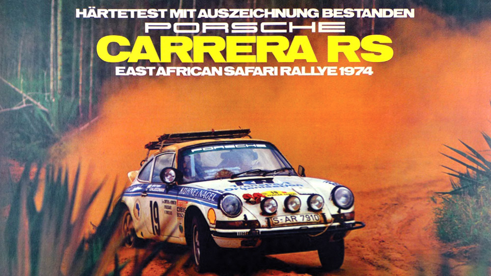 Porsche poster of the Carrera RS, East African Safari Rallye, 1974.