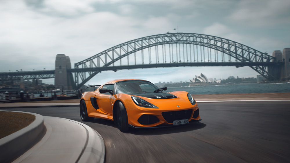 The Lotus Exige 410 Sport with the Sydney Harbour Bridge in the background.
